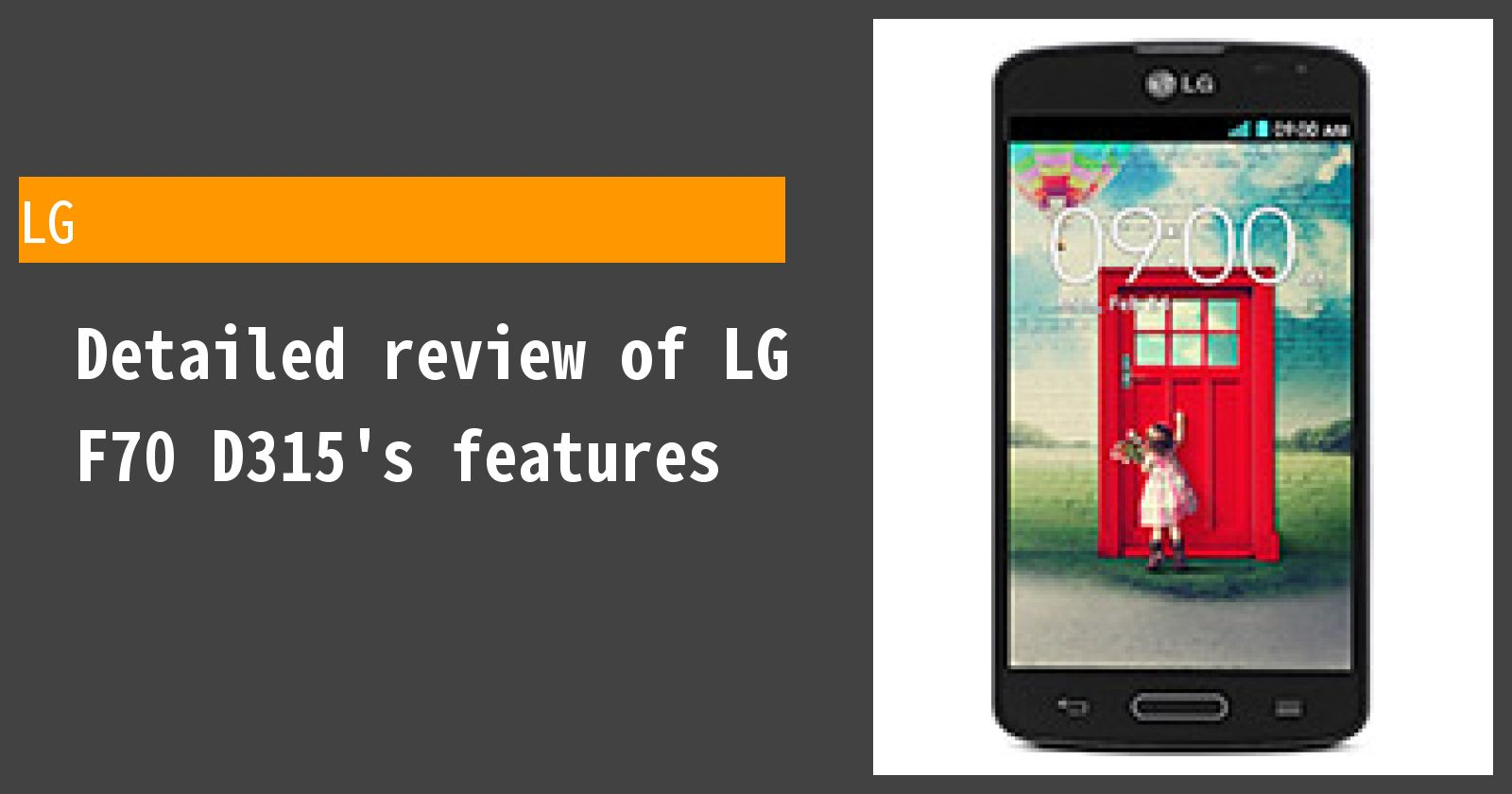 Detailed review of LG F70 D315's features